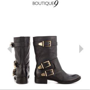 "Black ""Radannah"" Moto Boots by Boutique 9"